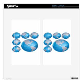 Blue 3D globe design Kindle Fire Decals