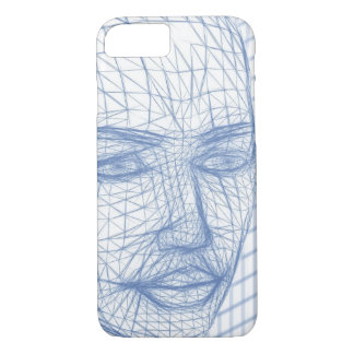 Blue 3D Model Drawing of Face Phone Case