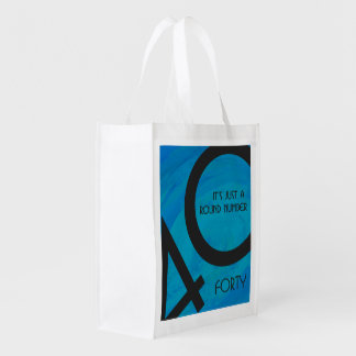 Blue 40 Decade Birthday Reusable Grocery Bag