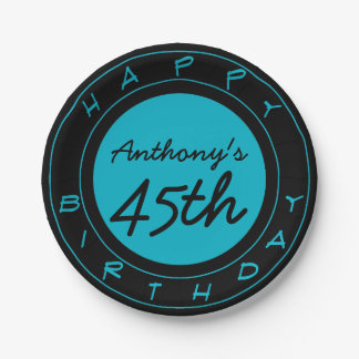 Blue 45th Birthday Party Personalized Paper Plates
