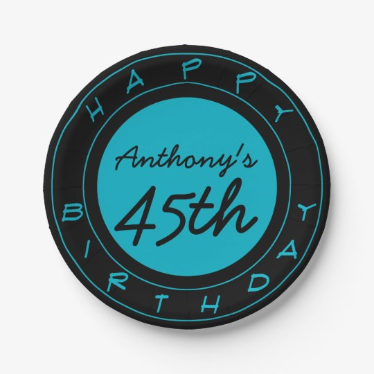 Blue 45th Birthday Party Personalized Paper Plates  sc 1 st  Zazzle & Blue 45th Birthday Party Personalized Paper Plates | Zazzle.com