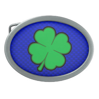 Blue 4 Leaf Clover Belt Buckle