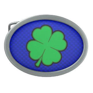 Blue 4 Leaf Clover Oval Belt Buckle