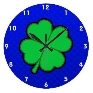 Blue 4 Leaf Clover Round Wall Clocks