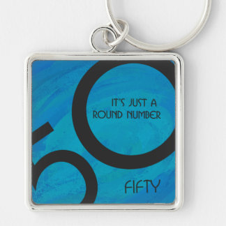 Blue 50 Decade Birthday Silver-Colored Square Keychain