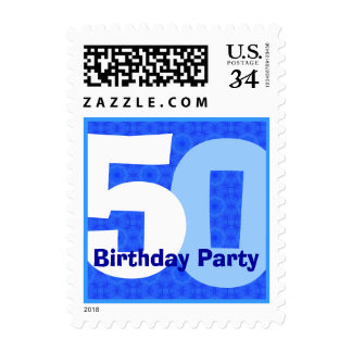 Blue 50th Birthday Party Big Numbers V004A Postage
