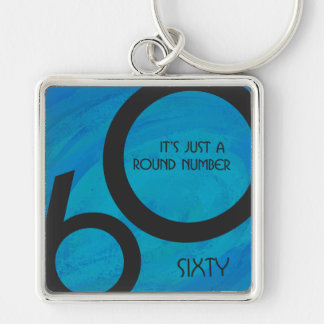 Blue 60 Decade Birthday Silver-Colored Square Keychain