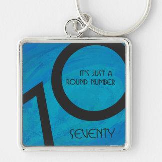 Blue 70 Decade Birthday Keychain