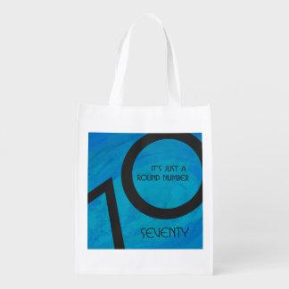 Blue 70 Decade Birthday Reusable Grocery Bag