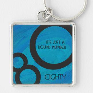 Blue 80 Decade Birthday Keychain