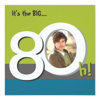 Blue 80th Big 8-Oh! Photo Template Birthday Party