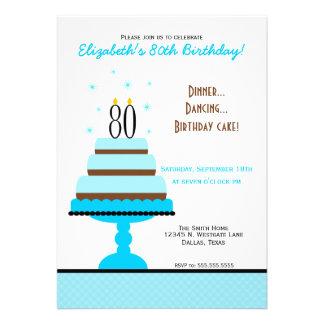 Blue 80th Birthday Cake Party Invitation