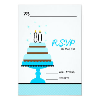 Blue 80th Birthday Cake Party RSVP Card Personalized Announcement