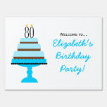 Blue 80th Birthday Cake Party Sign