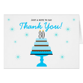 Blue 80th Birthday Cake Thank You Note Card