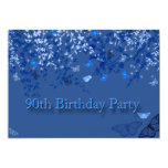 Blue 90th Birthday Party Invitation/ Butterflies 5x7 Paper Invitation Card
