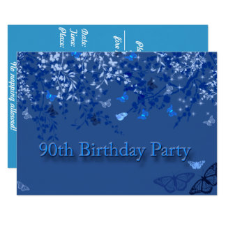 Blue 90th Birthday Party Invitation/ Butterflies Card