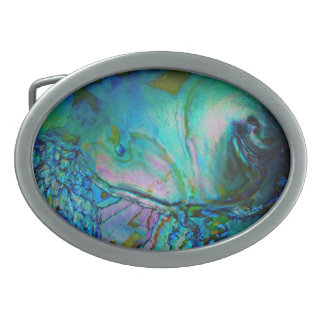 Blue Abalone Shell Belt Buckle