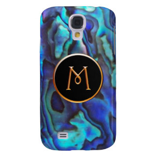 Blue Abalone with Gold Harrington M Monogram Galaxy S4 Cover