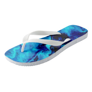 Blue Abstract Acrylic Painting Flip Flops