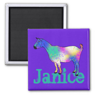 Blue Abstract Art Goat Design with Your Name Magnet