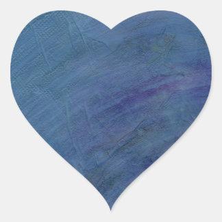 Blue Abstract Art Rain Faeries Heart Sticker