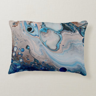 Blue Abstract Art Throw Accent Pillow