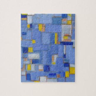 Blue Abstract Art yellow original Decor Jigsaw Puzzle