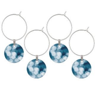 Blue abstract background wine glass charm