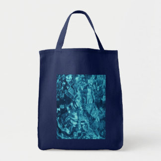 Blue Abstract Grocery Tote Bag