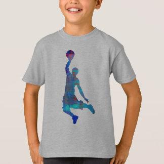 Blue Abstract Basketball Player Jumping kids Shirt