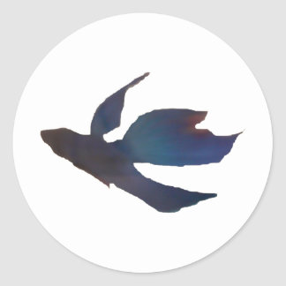 Blue Abstract Betta Fish Round Stickers