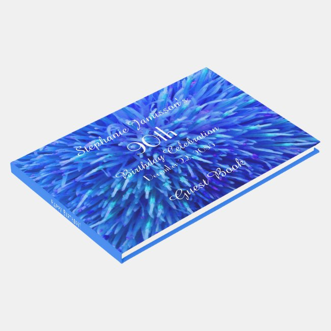 Blue Abstract Birthday Party Memory/Guest Book