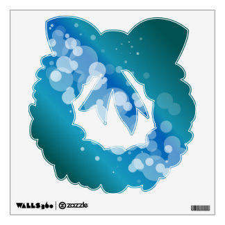 Blue Abstract Bubble Christmas Wreath Wall Sticker
