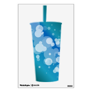 Blue Abstract Bubble Cup Wall Decal