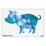 Blue Abstract Bubble - Pig Wall Sticker