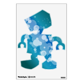 Blue Abstract Bubble Robot Wall Sticker