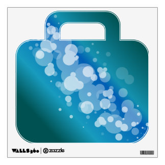 Blue Abstract Bubble Suitcase Wall Sticker