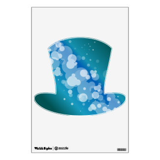 Blue Abstract Bubble Top Hat Wall Sticker