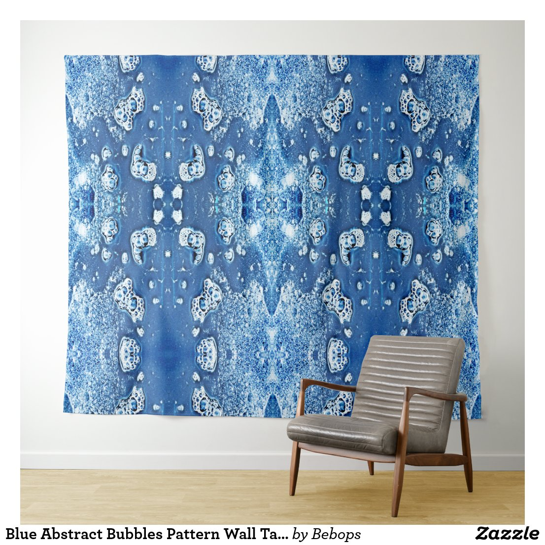 Blue Abstract Bubbles Pattern Wall Tapestry