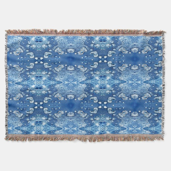 Blue Abstract Bubbles Water and Ice Throw Blanket