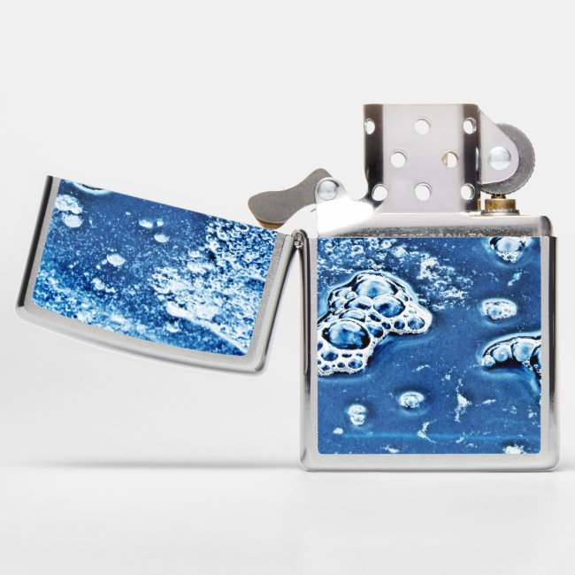 Blue Abstract Bubbles Water and Ice Zippo Lighter