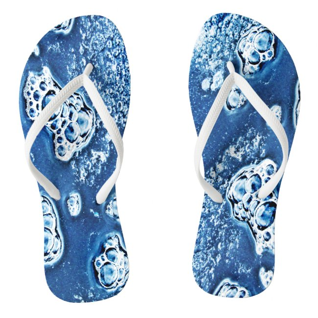 Blue Abstract Bubbles Water Ice Design Flip Flops