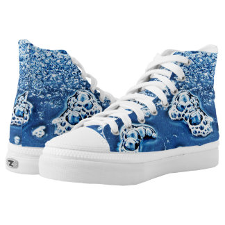 Blue Abstract Bubbles Water Ice Design High Tops