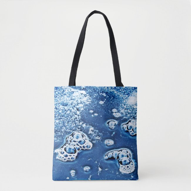 Blue Abstract Bubbles Water Ice Design Tote Bag
