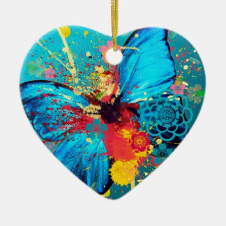 blue abstract butterfly beautiful design Double-Sided heart ceramic christmas ornament