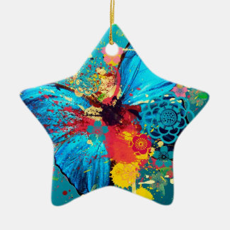 blue abstract butterfly beautiful design Double-Sided star ceramic christmas ornament