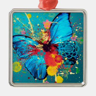 blue abstract butterfly beautiful design square metal christmas ornament