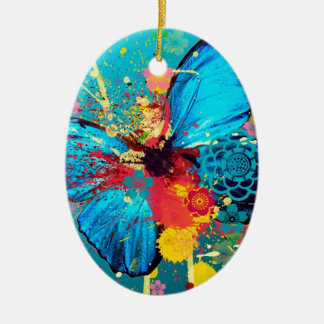 blue abstract butterfly beautiful design Double-Sided oval ceramic christmas ornament
