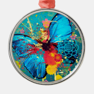 blue abstract butterfly beautiful design round metal christmas ornament